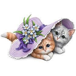 Alzheimer's Awareness Kittens Under Purple Hat Figurine