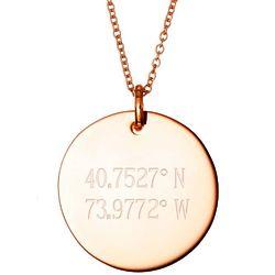 Custom 2 Line Coordinates Rose Gold Round Tag Pendant