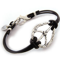 Live in Peace Leather and Sterling Silver Bracelet