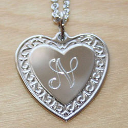 Message from the Heart Sterling Silver Engravable Heart Necklace