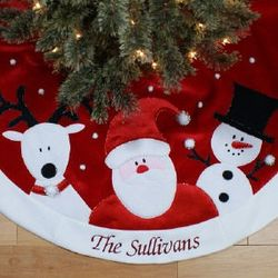 Santa, Reindeer and Snowman Embroidered Christmas Tree Skirt