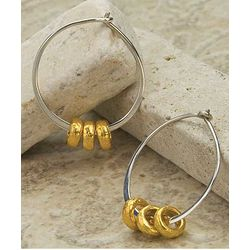 Mother's Strength Gold Ring Hoop Earrings