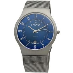 Men's Titanium Mesh Blue Dial Watch