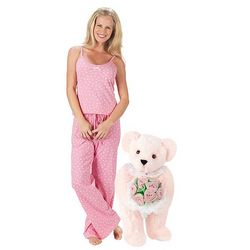 Pink Rose Teddy Bear and Pink Polka Dot Pajamas