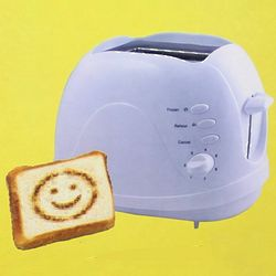 Happy Face 2 Slice Toaster in White