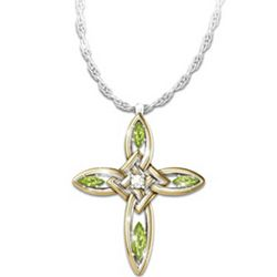Infinite Blessings Peridot and Diamond Cross Pendant Necklace