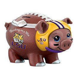 Louisiana State University Porcelain Football Piggy Bank
