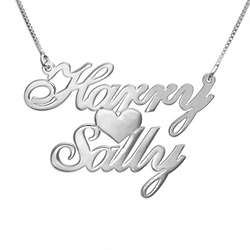 Silver Two Names and Heart Love Necklace