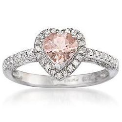 Pink Morganite and Diamond Heart Sterling Silver Ring