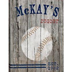 Personalized Baseball Weathered Canvas
