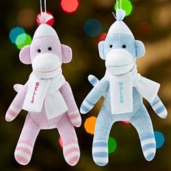 Personalized Sock Monkey Baby Ornament