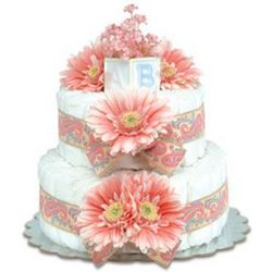 Pink Daiseis with Paisley Diaper Cake