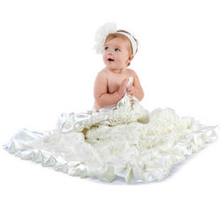 White Rosette Baby Blanket
