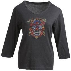 Crystal Accent Sugar Skull Top