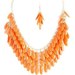 Orange Teardrop Clusters Necklace and Earrings Set