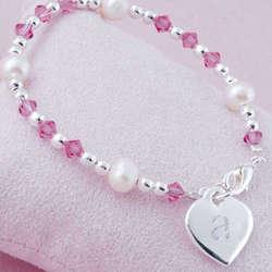 Girl's Initial Heart Charm Bracelet