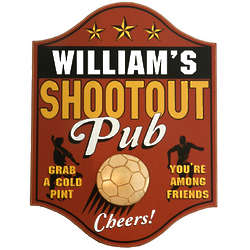 Handcrafted Soccer Shootout Pub Sign