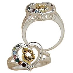 Mother's Heart Two-Toned Birthstone Ring
