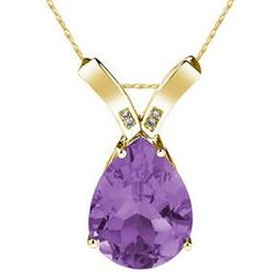 Pear Shaped Amethyst & Diamond Pendant in 14K Yellow Gold
