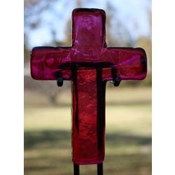 Medium Rose Colored Glass Hope Cross with Stand