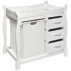 Sleigh Style Changing Table with Hamper and Baskets