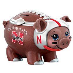 Nebraska Cornhuskers Porcelain Football Piggy Bank