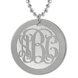 Engraved Monogram Silver Disc Charm Necklace
