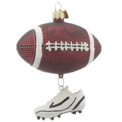 Glitter Football Christmas Ornament