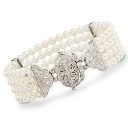Pearl and Diamond Sterling Silver Bracelet