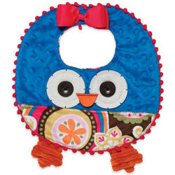 Owl Applique Baby Girl Bib