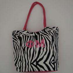 Personalized Zebra Print Canvas Tote Bag