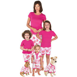 Mommy & Me Matching Pink Cotton Daisy Pajamas