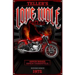 Lone Wolf Cycles Custom Metal Sign