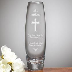 Blessings of Love Personalized Etched Glass Bud Vase