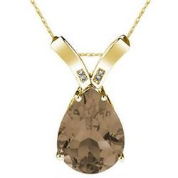 Pear Shaped Smokey Quartz & Diamond Pendant in 14K Yellow Gold
