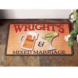 Personalized Mixed Marriage Doormat