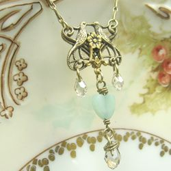Lovebirds Necklace with Amazonite Hearts