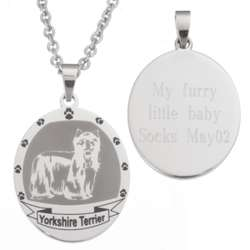 York Terrier Stainless Steel Engraved Necklace