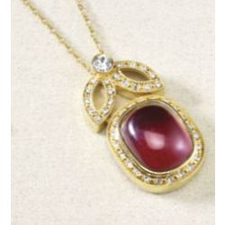 Red Cabochon Crystal Pendant