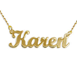 14K Yellow Gold Script Style Name Necklace