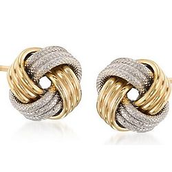 14K Two-Tone Gold Love Knot Earrings