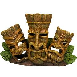 Triple Tiki Head Aquatic Decor