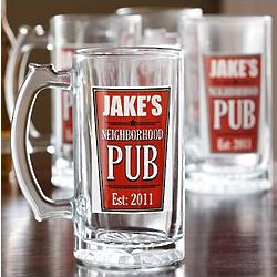 Personalized Neighborhood Pub Beer Mug Set