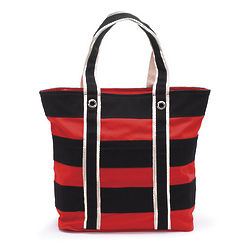 Embroidered Red and Black Striped Canvas Tote