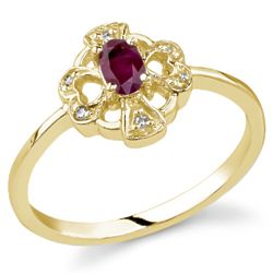 Cross and Heart Red Ruby and Diamond Ring in 14K Yellow Gold