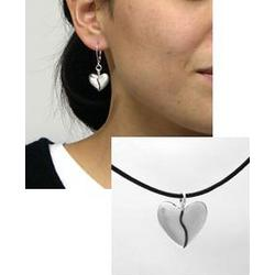 Sterling Silver Harmony Heart Necklace and Earring Gift Set