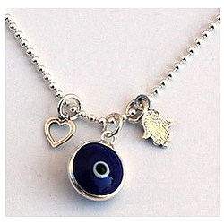 Hamsa Heart and Evil Eye Silver Necklace