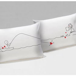 Catch My Heart His & Hers Matching Couple Pillowcases