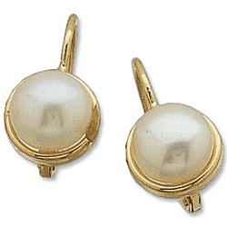 14k Gold Freshwater Pearl Lever Back Earrings