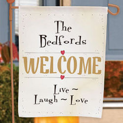 Live, Laugh, Love Personalized Welcome Garden Flag